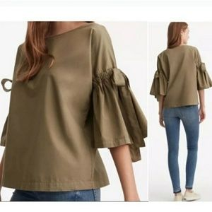 Lou & Grey Bell Sleeve Olive Green Cotton Top Lg